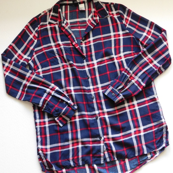 Divided by H&M Navy & Red Plaid Shirt - Size 2